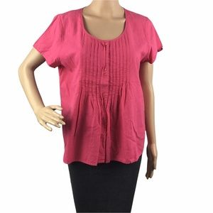 Eileen Fisher Top Size M Pink Button Front Short Sleeve Cotton Pintuck
